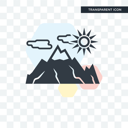 Mountain vector icon isolated on transparent background