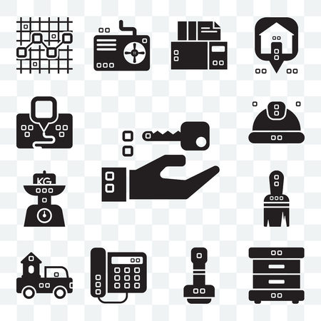 Set Of 13 transparent editable icons such as Closing, Bed side, Paper work, Domestic phone, Trucks, Work tools, Kilograms, Worker, Maps and Flags, web ui icon pack