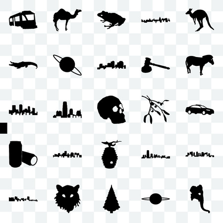 Set Of 25 transparent icons such as elephant head, saturn, christmas tree, tiger face, cuba, zebra, mistletoe, beehive, beer can, alligator, frog, camel, web UI transparency icon pack