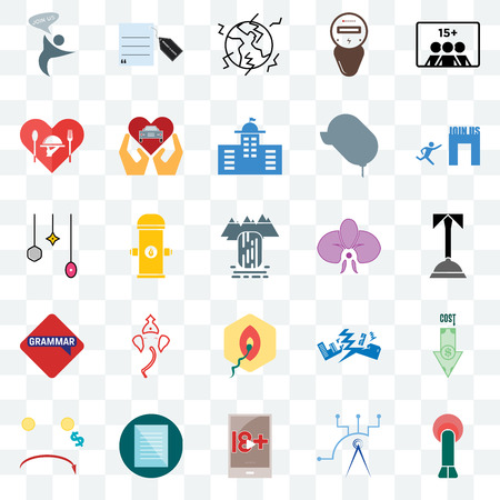 Set Of 25 transparent icons such as penetration, concierge, join us, request a quote, cost uction, car dealer, earthquake, christmas bulb, web UI transparency icon pack, pixel perfect 矢量图像