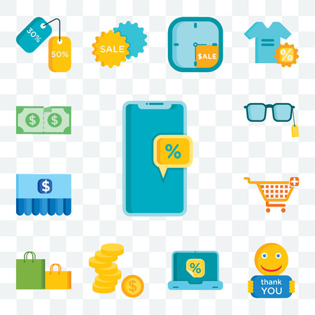 Set Of 13 transparent editable icons such as Discount, Thank you, Laptop, Money, Shopping bag, cart, Sunglasses, web ui icon pack Illustration