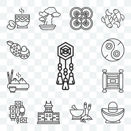 Set Of 13 transparent editable icons such as Adornment, Sycee, Traditional medicine, Great wall of china, , Scroll, Dumpling, Yin yang, Lychee, web ui icon pack