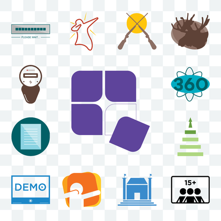 Set Of 13 transparent editable icons such as adaptability, number of players, municipal, dab, demo, next steps, specification, 360 degree, electric meter, web ui icon pack