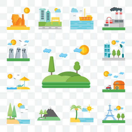 Set Of 13 transparent editable icons such as Hills, Paris, Beach, Mountains, Lake, Barn, Flat, Easter Island, web ui icon pack