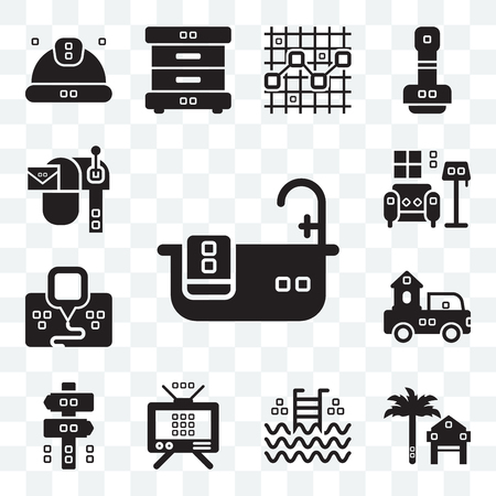 Set Of 13 transparent editable icons such as Relax, Rent, Step ladder, Antennas, Panel, Trucks, Maps and Flags, Indoor, Mailed, web ui icon pack Illustration