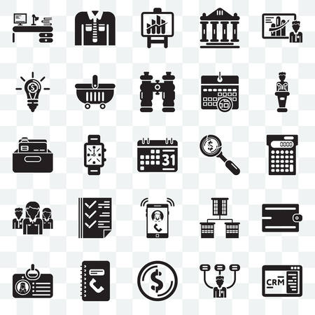 Set Of 25 transparent icons such as CRM, Boss, Dollar, Phone number, Id card, Presentation, Ringing, Network, Invention, Bars chart, Clothing, web UI transparency icon pack