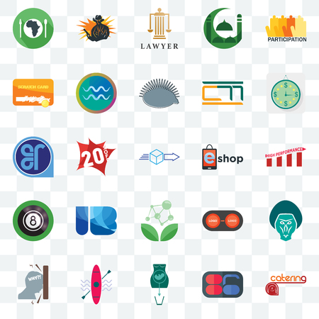 Set Of 25 transparent icons such as catering, 86, abortion, kayak, frustration, estimate, eshop, antioxidant, 8 ball pool, scratch card, lawyer, outlaw, web UI transparency icon pack