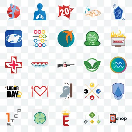 Ensemble de 25 icônes transparentes telles que eshop, gestion des commandes, couronne électronique, estimation, étape 1, dernières nouvelles, club écologique, frustration, fête du travail, h, 20% de réduction, inflammation, pack d'icônes de transparence de l'interface utilisateur Web