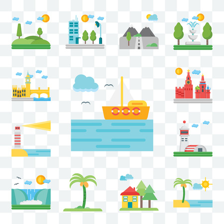 Set Of 13 transparent editable icons such as Sea, Beach, House, Palm tree, Waterfall, Hangar, Lighthouse, Moscow, London, web ui icon pack