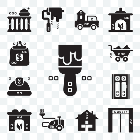 Set Of 13 transparent editable icons such as Painted, Up, Health care, House things, Hearth, Door, Worker, Barrow, Purses, web ui icon pack