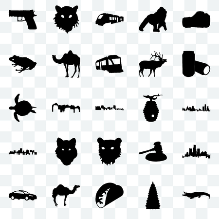 Set Of 25 transparent icons such as alligator, christmas tree, taco, camel, police car, beer can, beehive, tiger face, virginia state, frog, train, web UI transparency icon pack