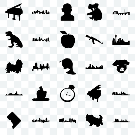 Set Of 25 transparent icons such as fort worth, shih tzu, cincinnati, dc, seattle, denver, pocket watch, t rex, gandhi, web UI transparency icon pack Çizim