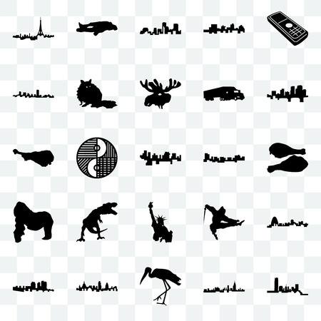 Set Of 25 transparent icons such as oklahoma, alabama, stork, london, haiti, arkansas, jamaica, statue of liberty, gorilla, maryland, louisiana, chalk, web UI transparency icon pack 矢量图像