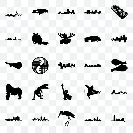 Set Of 25 transparent icons such as oklahoma, alabama, stork, london, haiti, arkansas, jamaica, statue of liberty, gorilla, maryland, louisiana, chalk, web UI transparency icon pack Illustration
