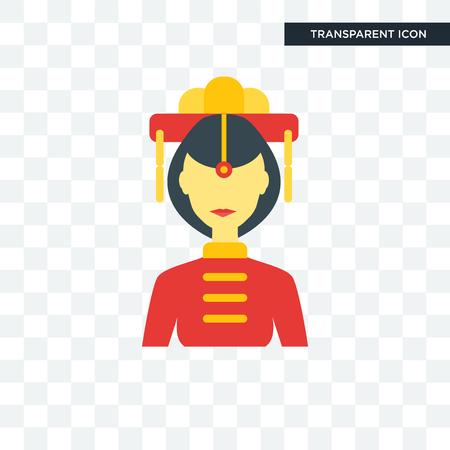 China women illustration icon isolated on transparent background