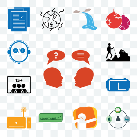 Set Of 13 transparent editable icons such as inquiry, shepherd, dab, adaptability, set top box, vr headset, number of players, hiker, live support, web ui icon pack
