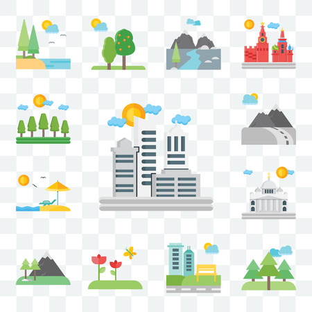 Set Of 13 transparent editable icons such as City, Forest, Park, Flowers, Mountains, Vaticano, Beach, Mountain, web ui icon pack