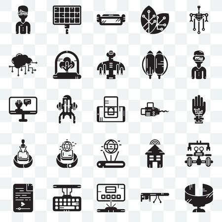 Set Of 25 transparent icons such as Panoramic view, Wi gloves, Solar panel, Audio file, Tree, Smart house, Artificial intelligence, web UI transparency icon pack, pixel perfect