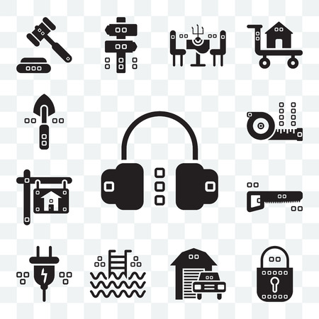 Set Of 13 transparent editable icons such as Headphones, Blocked, Transportation, Step ladder, Electric, Hacksaw, Real estate, Measuring, Garden work, web ui icon pack