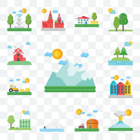 Set di 13 icone modificabili trasparenti come montagna, vulcano, fienile, igloo, giardino, Amsterdam, campo, alberi, mulino a vento, pacchetto di icone dell'interfaccia utente web Vettoriali