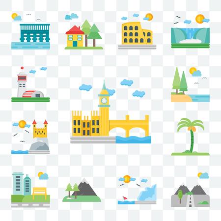 Set Of 13 transparent editable icons such as London, Mountains, Coast, Park, Palm tree, Castle, Lake, Hangar, web ui icon pack