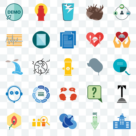 Set Of 25 transparent icons such as municipal, page turn, car dealer, fire hydrant, penetration, specification, inquiry, waterfall, web UI transparency icon pack, pixel perfect