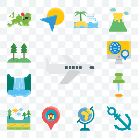 Set Of 13 transparent editable icons such as Plane, Anchor, Globe, Pin, Geology, Waterfall, Map, Trees, web ui icon pack