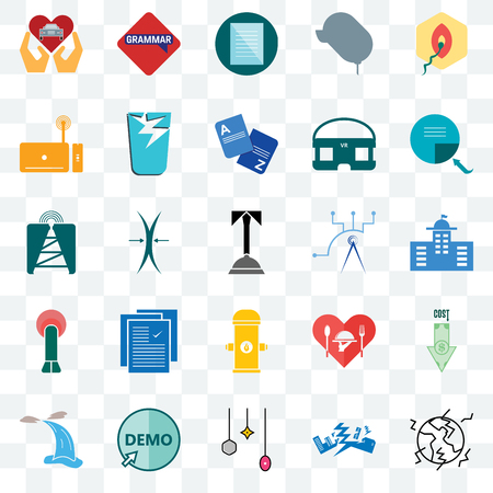 Set Of 25 transparent icons such as earthquake, municipal, page turn, grammar, waterfall, broken glass, hospitality, cell tower, web UI transparency icon pack, pixel perfect