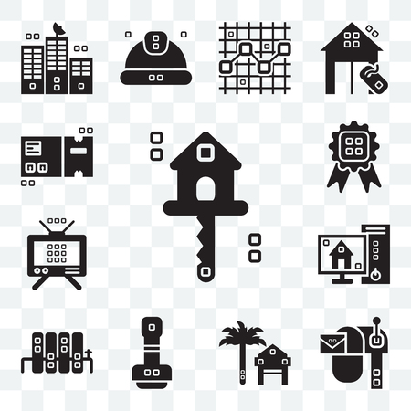Set Of 13 transparent editable icons such as Real estate, Mailed, Rent, Paper work, Radiators, Blackboard, Antennas, Title, Packaging, web ui icon pack