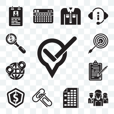 Set Of 13 transparent editable icons such as Maps and Flags, Network, Office material, Attachments, Dollar, Contract, Dart board, web ui icon pack Foto de archivo - 111898172