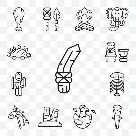Set Of 13 transparent editable icons such as Knife, Club, Dinosaur, Moai, Fishing,  Troglodyte, Mortar, web ui icon pack
