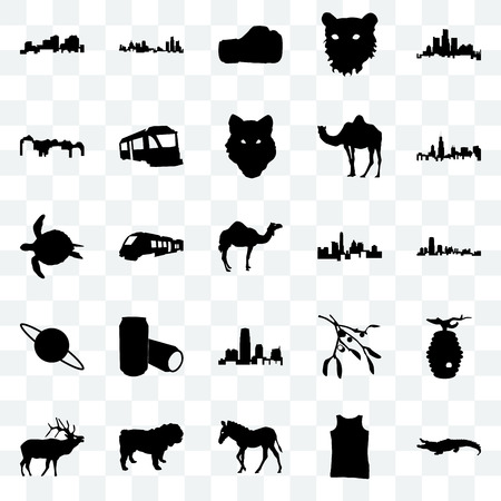 Set Of 25 transparent icons such as alligator, tank top, zebra, dog, elk, illinois state, state of texas, new jersey, saturn, utah, boxing glove, michigan web UI transparency icon pack