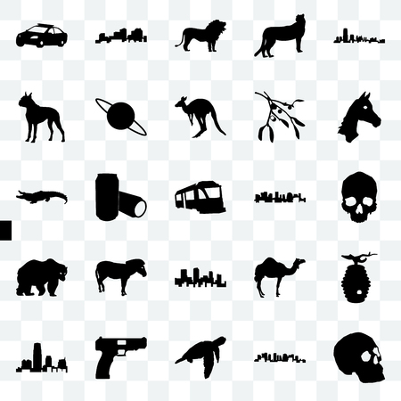 Set Of 25 transparent icons such as simple skull, norway, sea turtle, handgun, new jersey, horse face, colorado, bear, boxer, lion, louisiana, web UI transparency icon pack