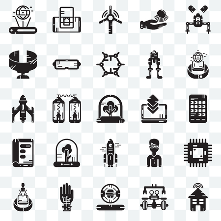 Set Of 25 transparent icons such as Smart house, Robot, Cooker, Wi gloves, Hologram, Smartwatch, Smartphone, Rocket, Display, Panoramic view, Windmill, web UI transparency icon pack