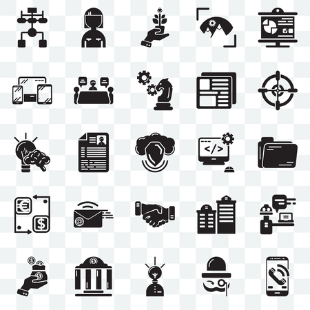 Set Of 25 transparent icons such as Smartphone, Sir, Creative, Bank, Business, Target, Coding, Handshake, Cash, Responsive, Growth, Woman, web UI transparency icon pack Stock Illustratie