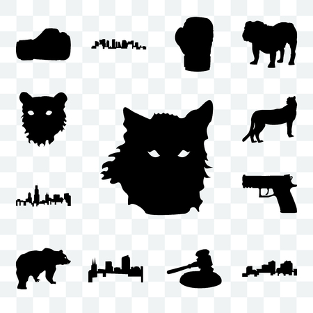 Set Of 13 transparent icons such as wolf face outline on white background, louisiana gavel web ui editable icon pack, transparency set
