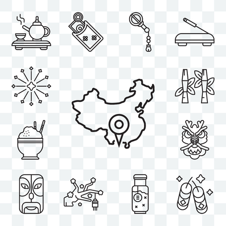 Set Of 13 transparent editable icons such as China, Fireworks, Remedy, Sakura, Mask, Dragon, Rice, Bamboo, web ui icon pack