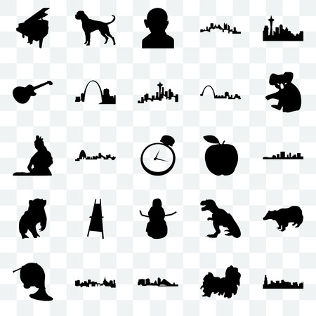 Set Of 25 transparent icons such as chicago, shih tzu, wisconsin, st paul, french horn, koala, apple, snowman, badger, image les gandhi, boxer dog, web UI transparency icon pack