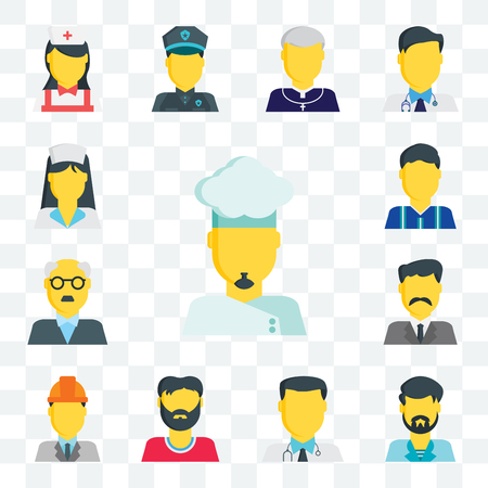 Set Of 13 transparent editable icons such as Chef, Man, Doctor, Engineer, Businessman, Teacher, Football player, Med girl, web ui icon pack Illustration