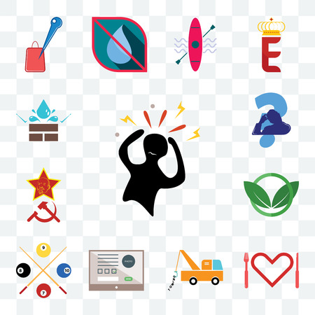Set Of 13 transparent editable icons such as panic, appetite, tow truck, online form, snooker, eco club, communism, scratching head, water resistant, web ui icon pack