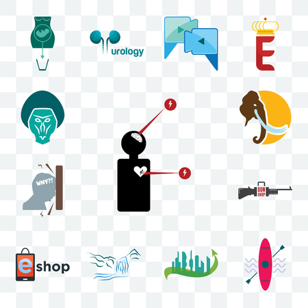 Set Of 13 transparent editable icons such as symptoms, kayak, future city, waterfall, eshop, gun shop, frustration, mammoth, baboon, web ui icon pack