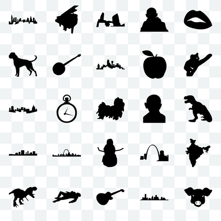 Set Of 25 transparent icons such as pig face, t rex, koala, grand piano, banjo, missouri, pittsburgh, web UI transparency icon pack, pixel perfect