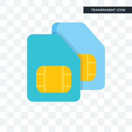Sim card vector icon isolated on transparent background, Sim card logo concept Stock Vector - 106803080