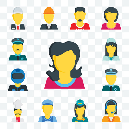 Set Of 13 transparent editable icons such as Woman, Telemarketer, Stewardess, Clerk, Chef, Policeman, Racer, Nurse, Police, web ui icon pack