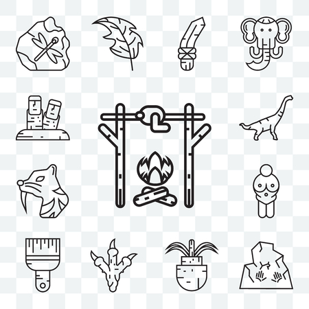 Set Of 13 transparent editable icons such as Roast chicken, Rock art, Plant, Paw print, Brush, Venus of willendorf, Saber toothed tiger, Dinosaur, Moai, web ui icon pack