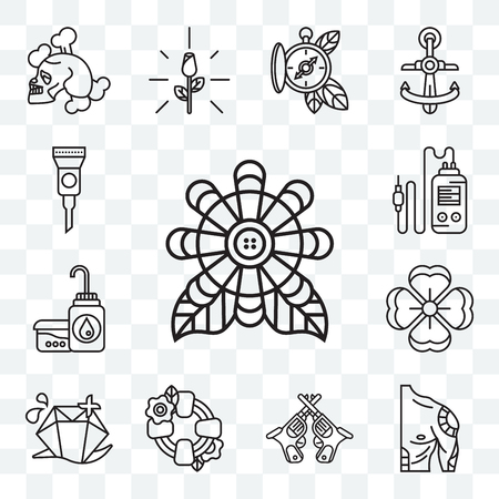 Set Of 13 transparent editable icons such as Flower, Tattoo, Revolvers, Lifesaver, Diamond, Soap, Tattoo machine, Ink, web ui icon pack