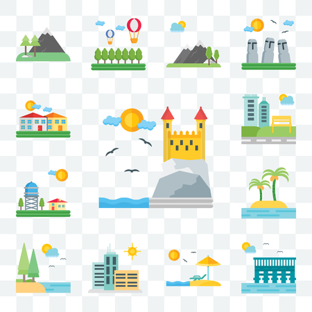 Set Of 13 transparent editable icons such as Castle, Sea, Beach, City, Lake, Island, Water, Park, Village, web ui icon pack