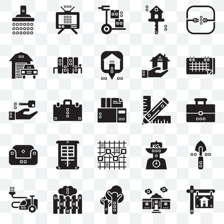 Conjunto de 25 iconos transparentes como bienes raíces, bolsa de libros, diecisiete, antenas, cosas de la casa, radiadores, kilogramos, cierre, paquete de iconos de transparencia de interfaz de usuario web, píxel perfecto Ilustración de vector