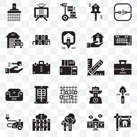 Set Of 25 transparent icons such as Real estate, Book bag, Seventeen, Antennas, House things, Radiators, Kilograms, Closing, web UI transparency icon pack, pixel perfect