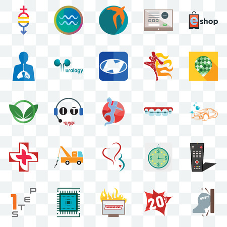 Set Of 25 transparent icons such as frustration, 20% off, breaking news, sem, step 1, pine cone, orthodontist, gynecology, image of  cross, inflammation, swift, aquarius, web UI transparency icon pack